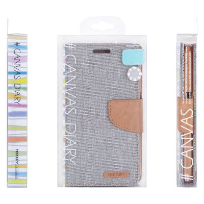 Etui iPhone 7 z kieszeniami na karty + stand up - Mercury Canvas Diary (szary/camel)