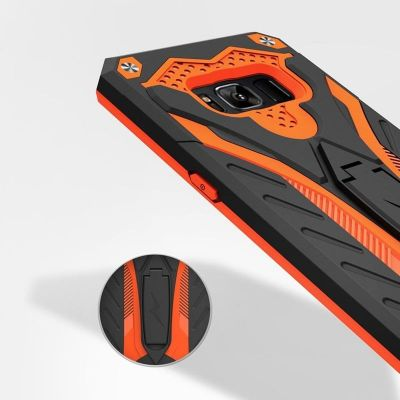 Pancerne etui Samsung Galaxy S8 Plus z podstawką - Zizo Static Cover (Black/Orange)