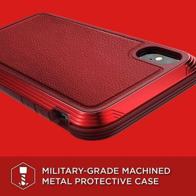 ETUI ALUMINIOWE IPHONE XS / X (DROP TEST 3M) - X-DORIA DEFENSE LUX (RED LEATHER)