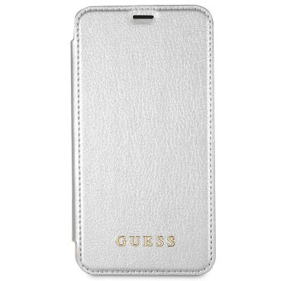 GUESS IRIDESCENT BOOK - ETUI IPHONE Xs / X Z KIESZENIAMI NA KARTY (SREBRNY)