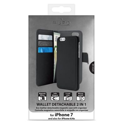 Etui 2w1 iPhone 8 / 7 / 6s / 6 - PURO Wallet Detachable (czarny)