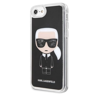 ETUI IPHONE 8 / 7 - KARL LAGERFELD ICONIC KARL (BLACK GLITTER)