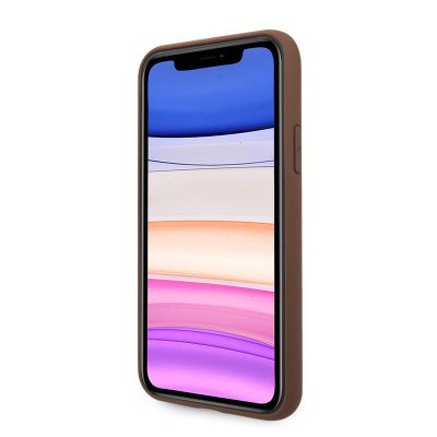 Etui iPhone 11 - Guess 4G Bottom Stripe Collection (brązowy)