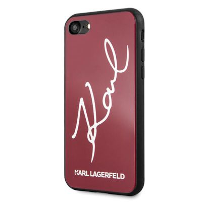 Etui iPhone 8 / 7 - Karl Lagerfeld Double Layers Glitter Signature Case (Red)