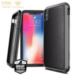 ETUI ALUMINIOWE IPHONE XS MAX (DROP TEST 3M) - X-DORIA DEFENSE LUX (BLACK LEATHER)